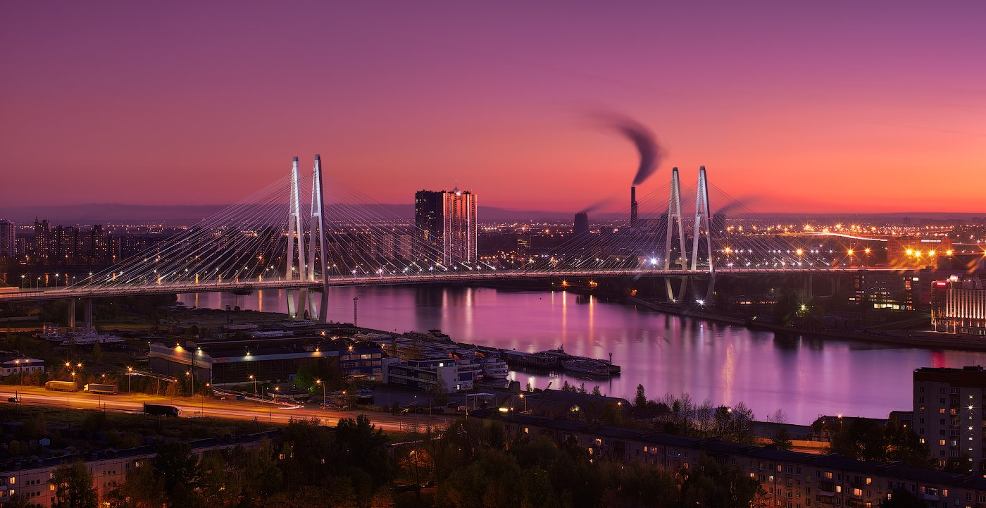 Вантовый, Вечер, Закат, Мост, Нева, Река, Санкт петербург, Sergey Louks