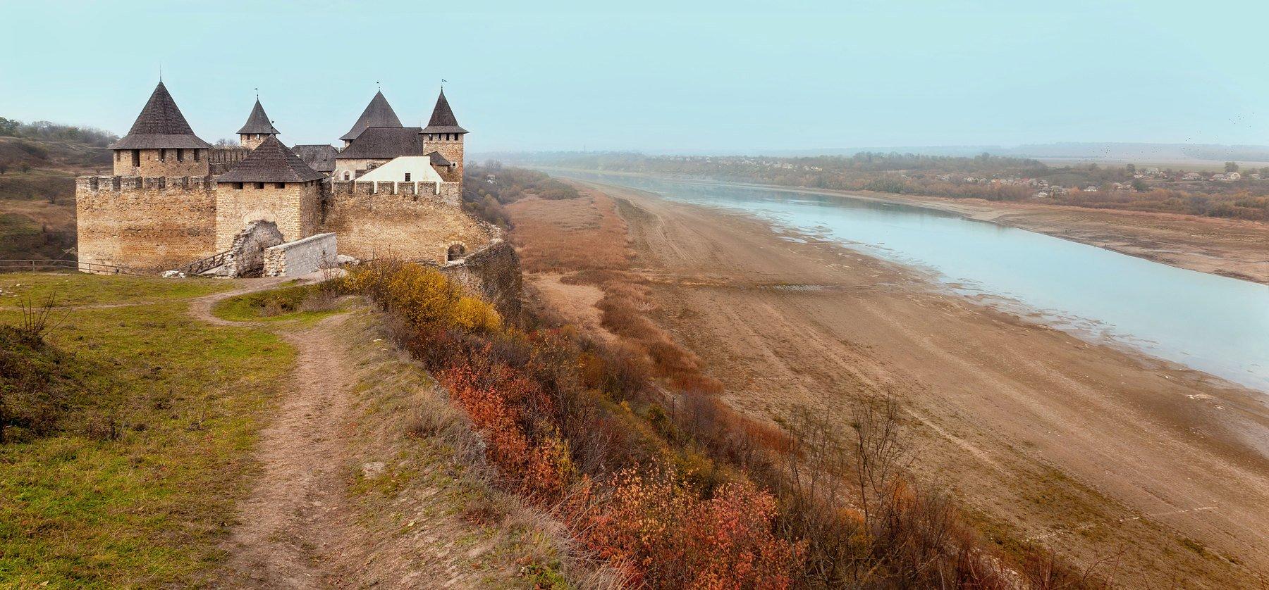 Днестр, Замок, Осень, Птицы, Река, Туман, Хотин, Андрей Кобыща