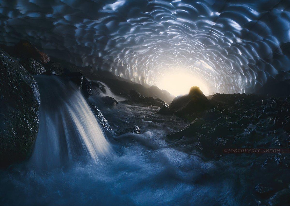 Камчатка, Россия, никон, пещера, снег, водопад, лёд, Антон Ростовский