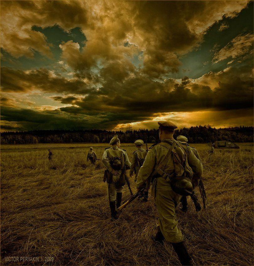 1916, русские, войска, первая, мировая, война, поле, танк, солдаты, Виктор Перякин