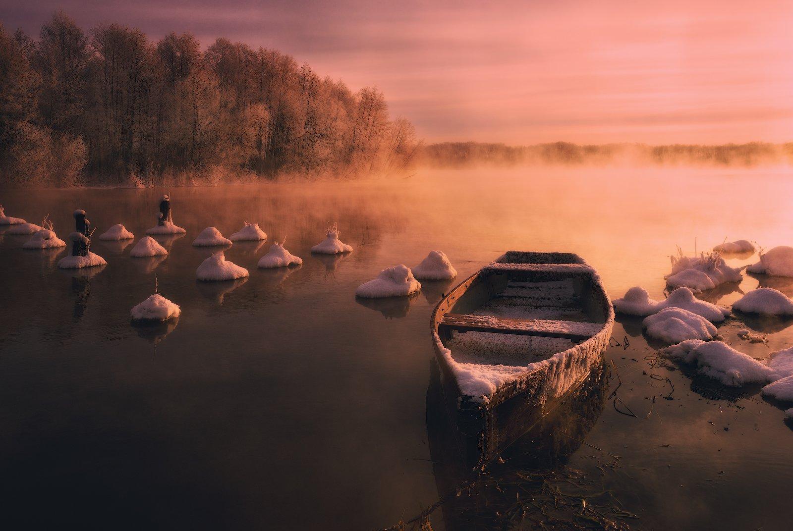 шатура, озера, зима, московская область, пар, туман, мороз, утро, рассвет, старый мост, шедевр, Николай Сапронов