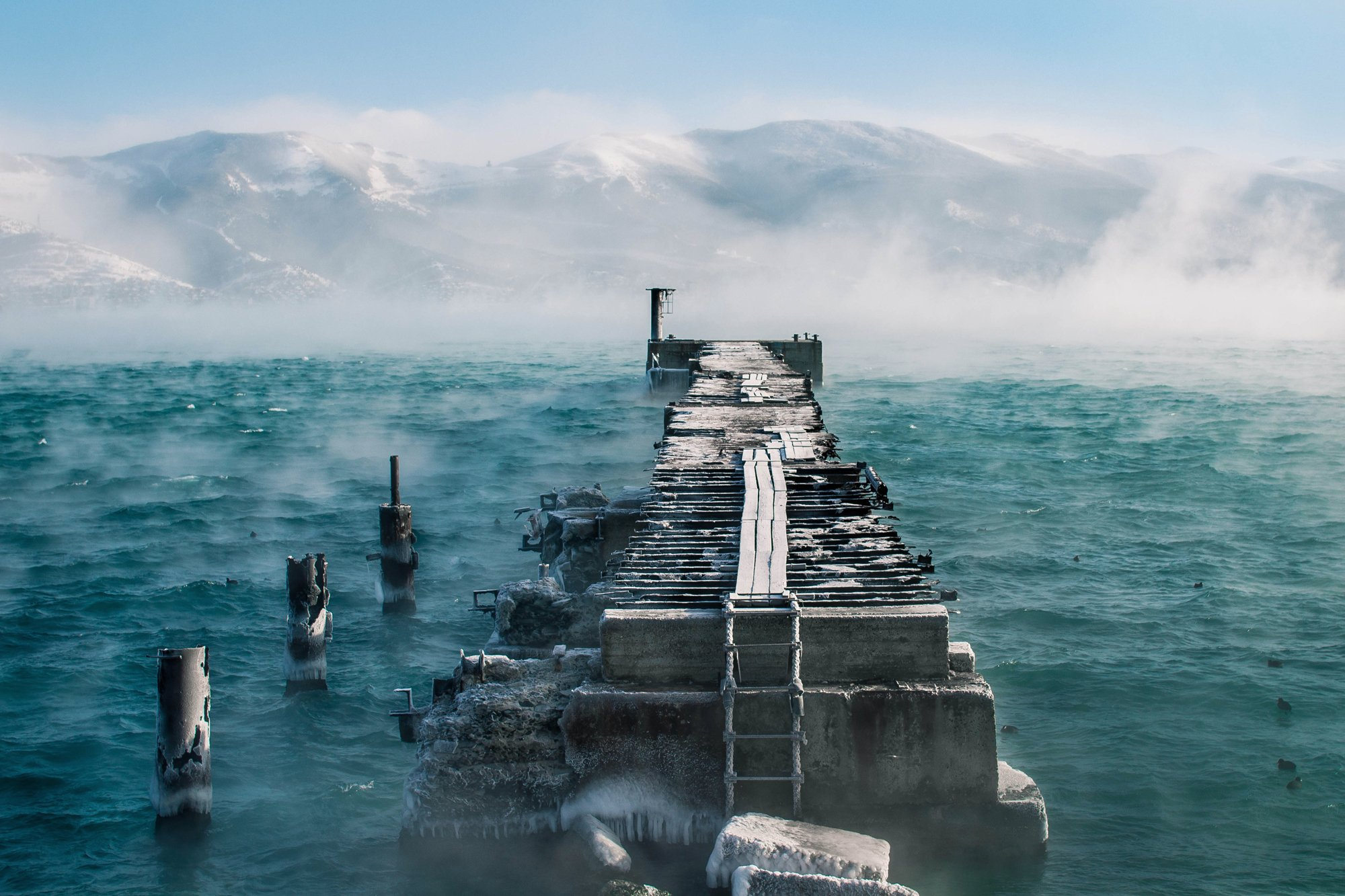 море, мороз, пирс, Скубский Алексей