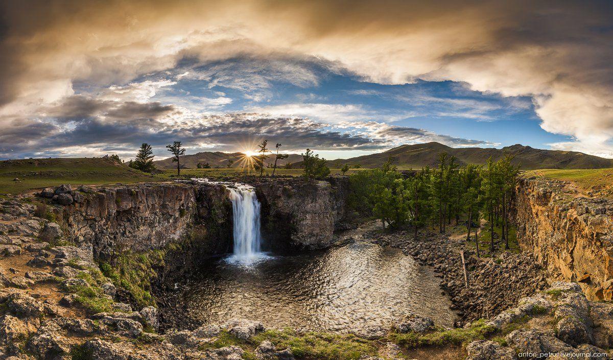 Водопад, Закат, Монголия, Река, Солнце, Антон Петрусь