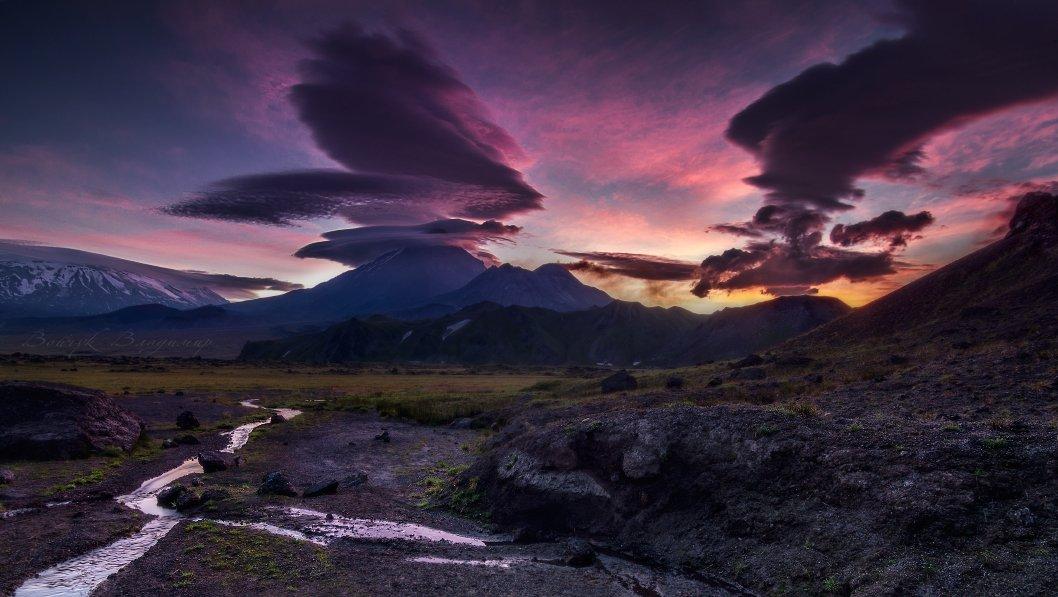 камчатка, вулканы, рассвет, лентикулярные, облака, Войчук Владимир