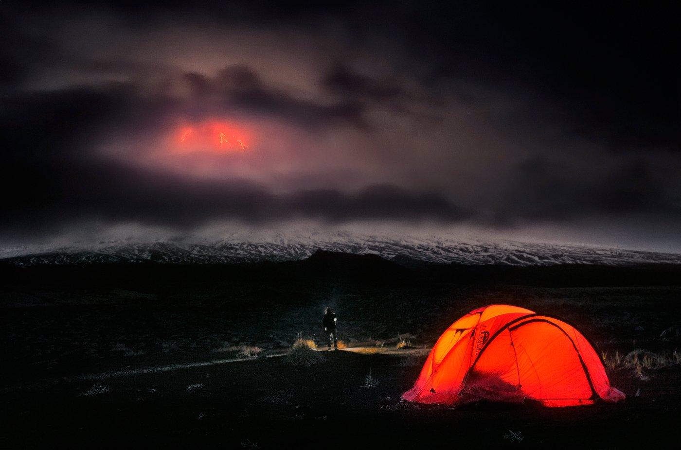 камчатка, ключевской, вулкан, извердение, ночь, Бродяга с севера