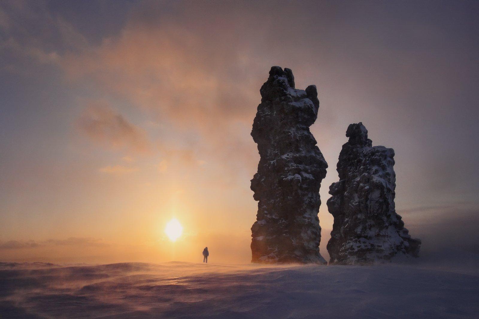 мань-пупу-нёр, хребет, плато, горы, скалы, останцы, северный урал, фотопутешествия, фототур, зима, снег, ветер, Бродяга с севера