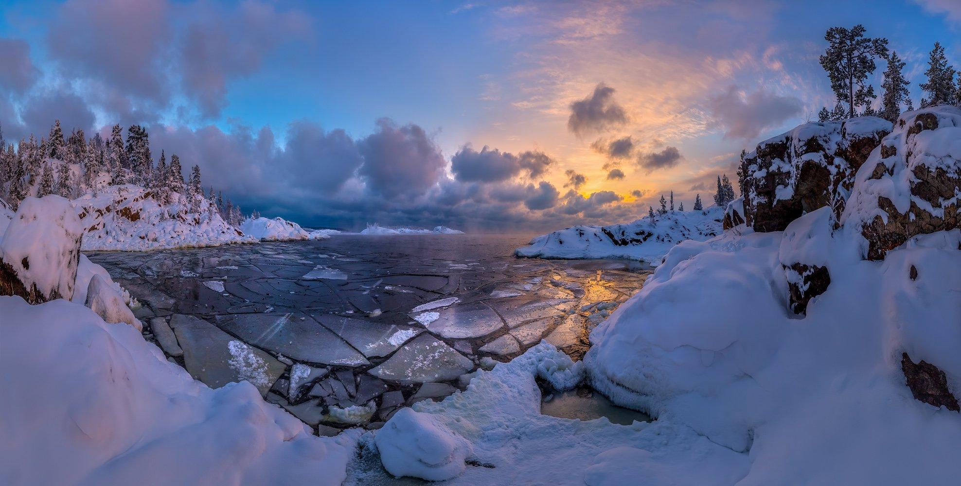 Ладожское озеро, Карелия, остров, зима, снег, рассвет, тучи, бухта,, Лашков Фёдор
