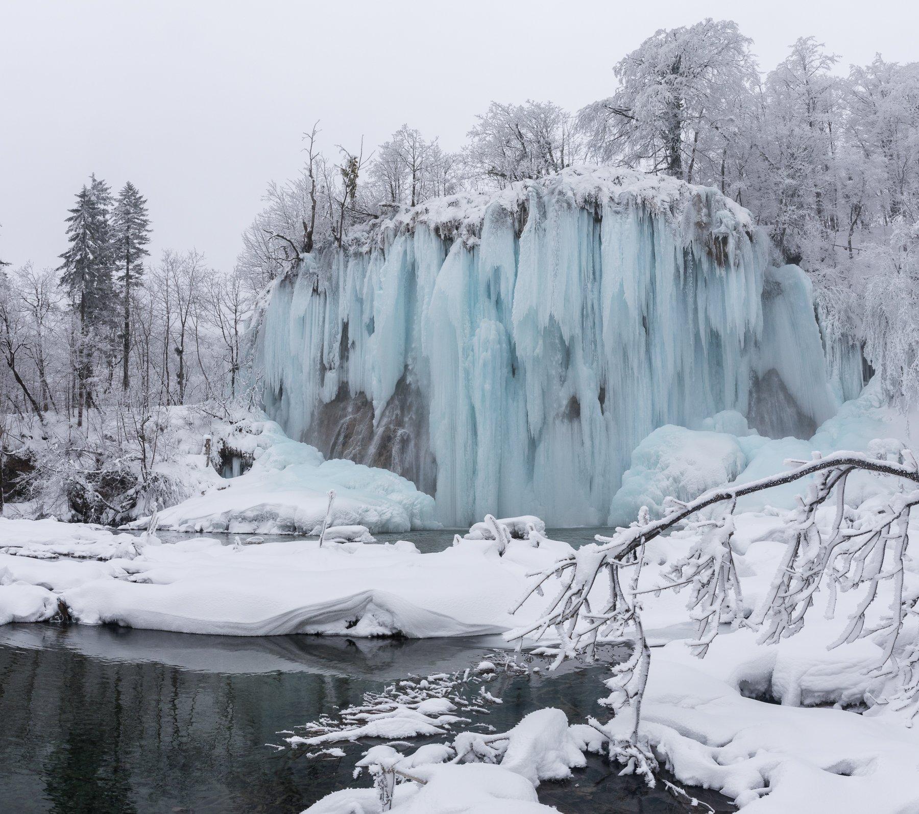 Плитвицкие, озера, Хорватия, водопад, зима, Marina Malikova
