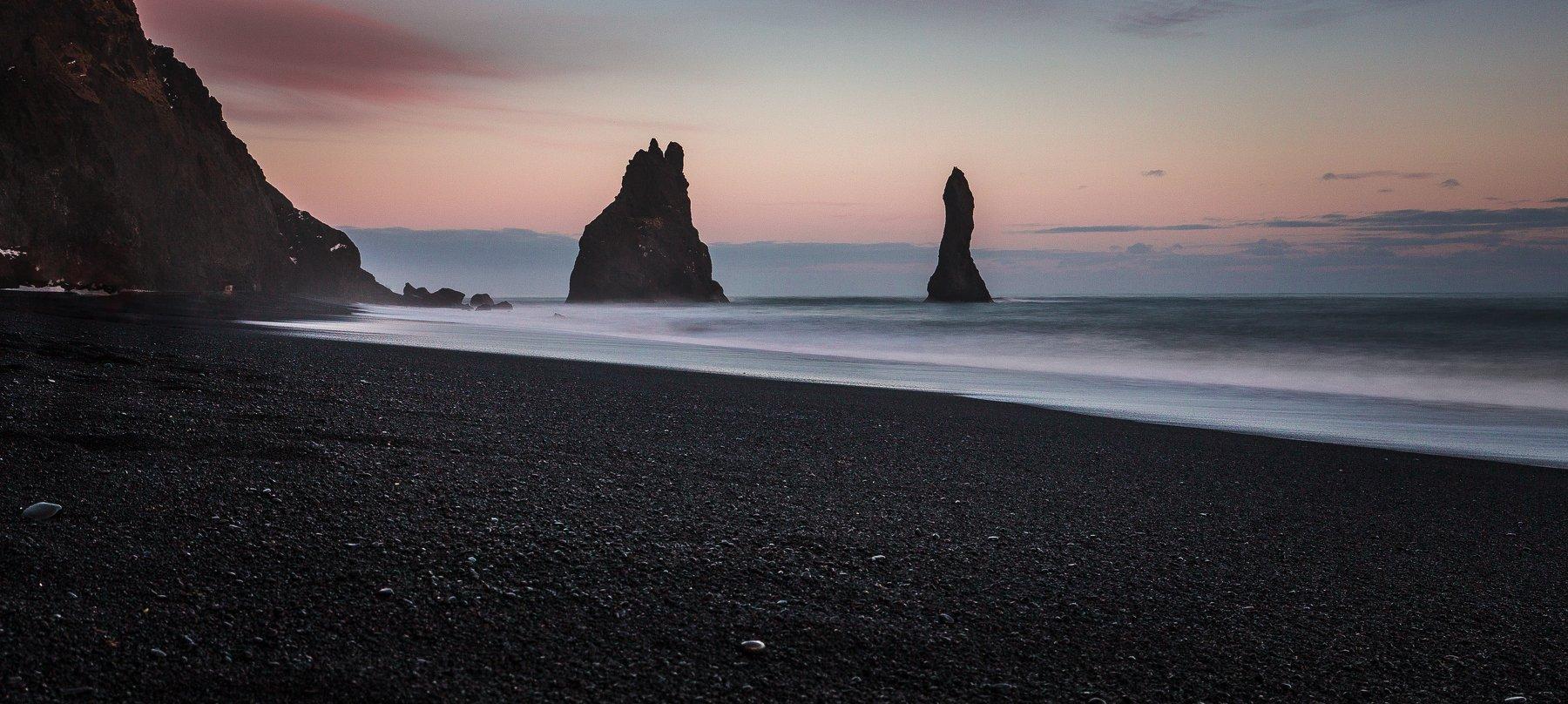 черный, песок, пляж, скалы, Александр Куренной