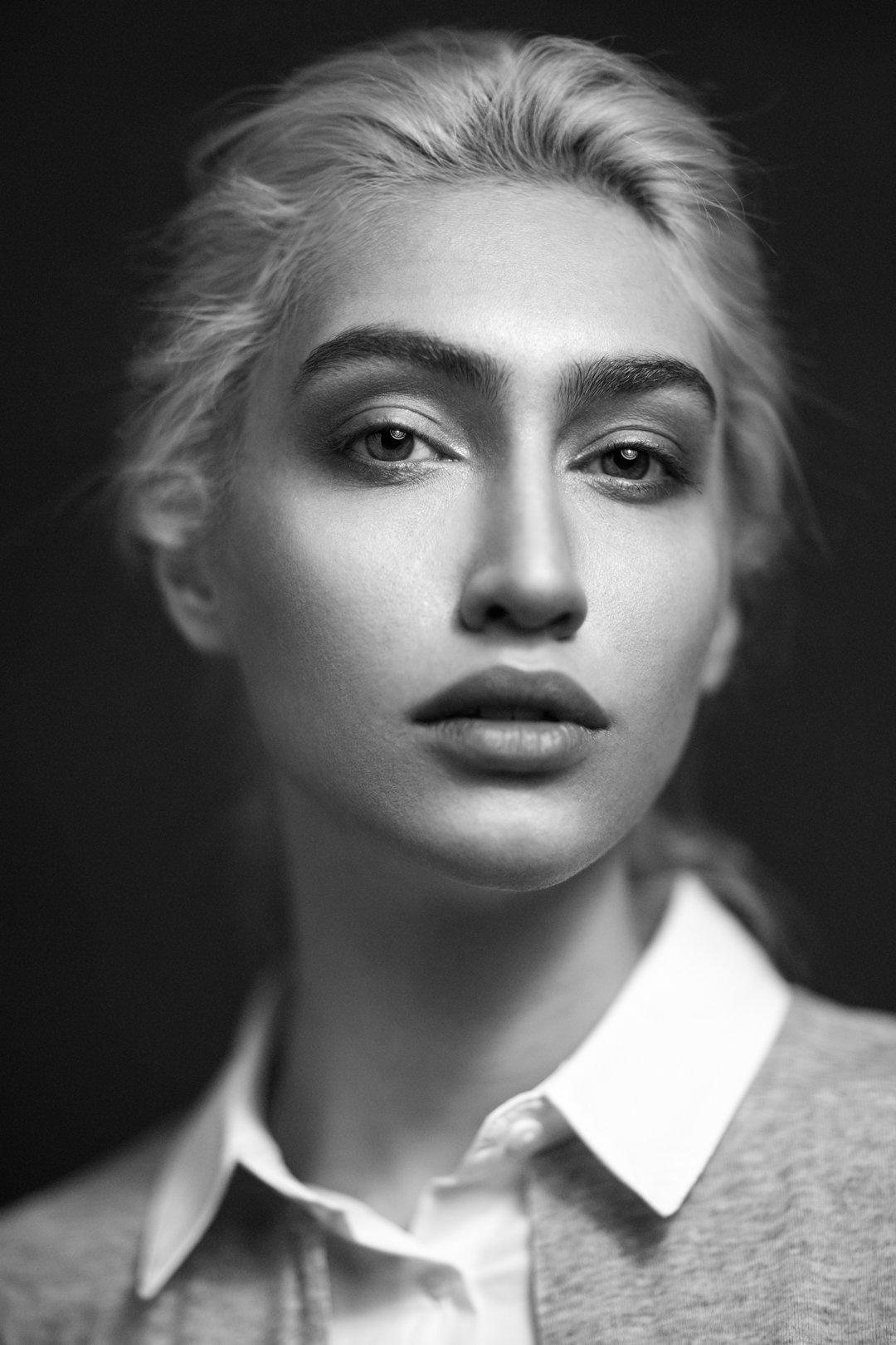 portrait, blackandwhite, model, face, eyes, lighting, headshot,, mohammad hossein