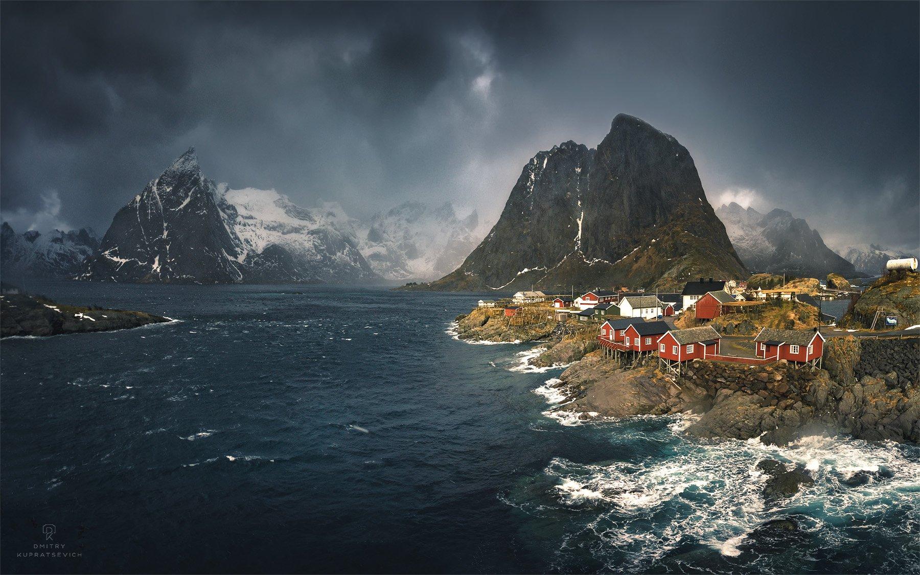 норвегия, лофотены, море, горы, облака, пейзаж, Купрацевич Дмитрий