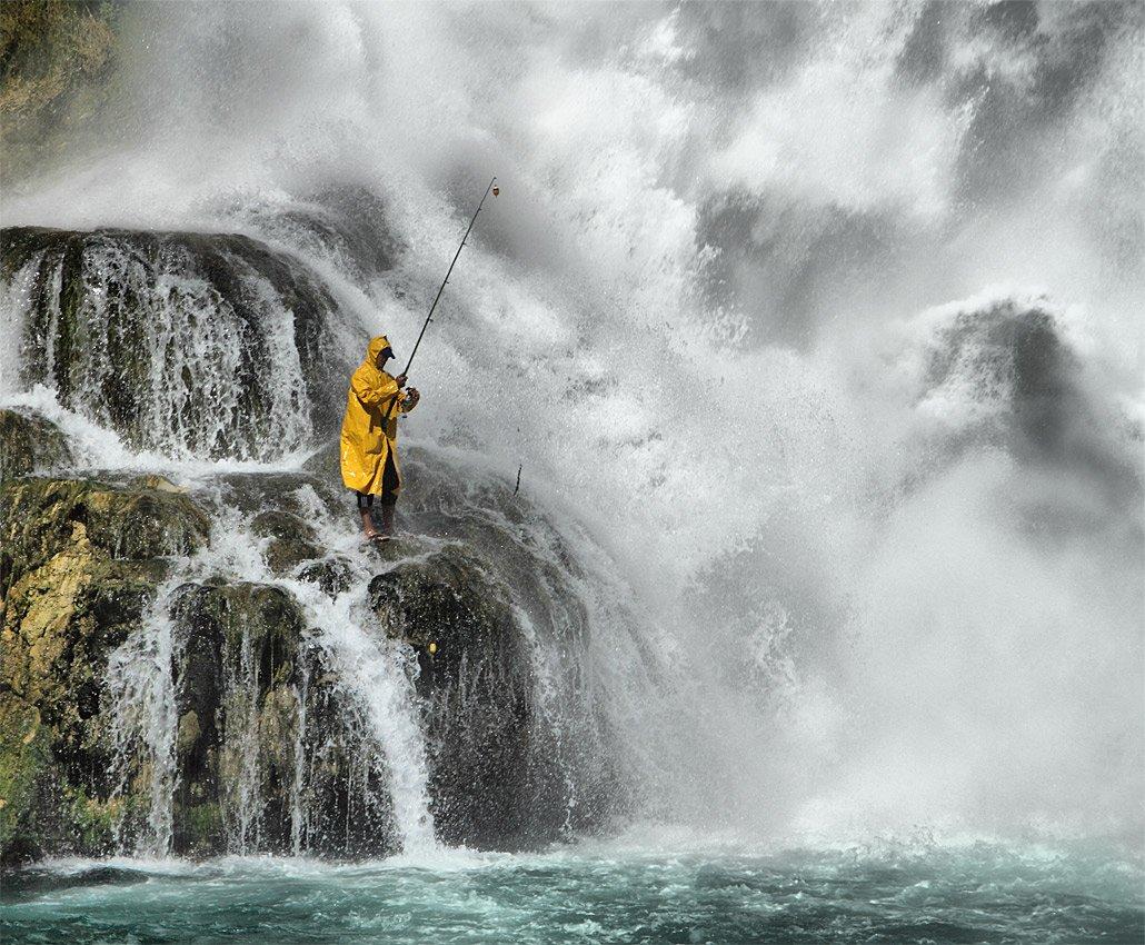 водопад, море, рыбак, Игорь Дубровский