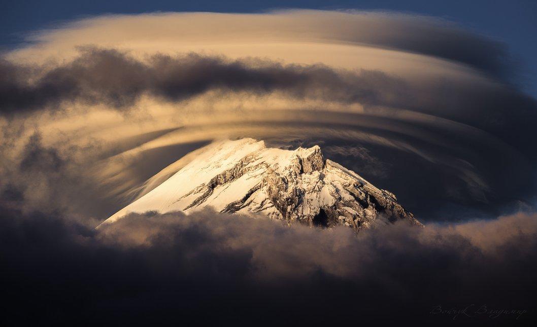 вулкан, камень, камчатка, вершина, лентикулярное, облако, горы, Войчук Владимир