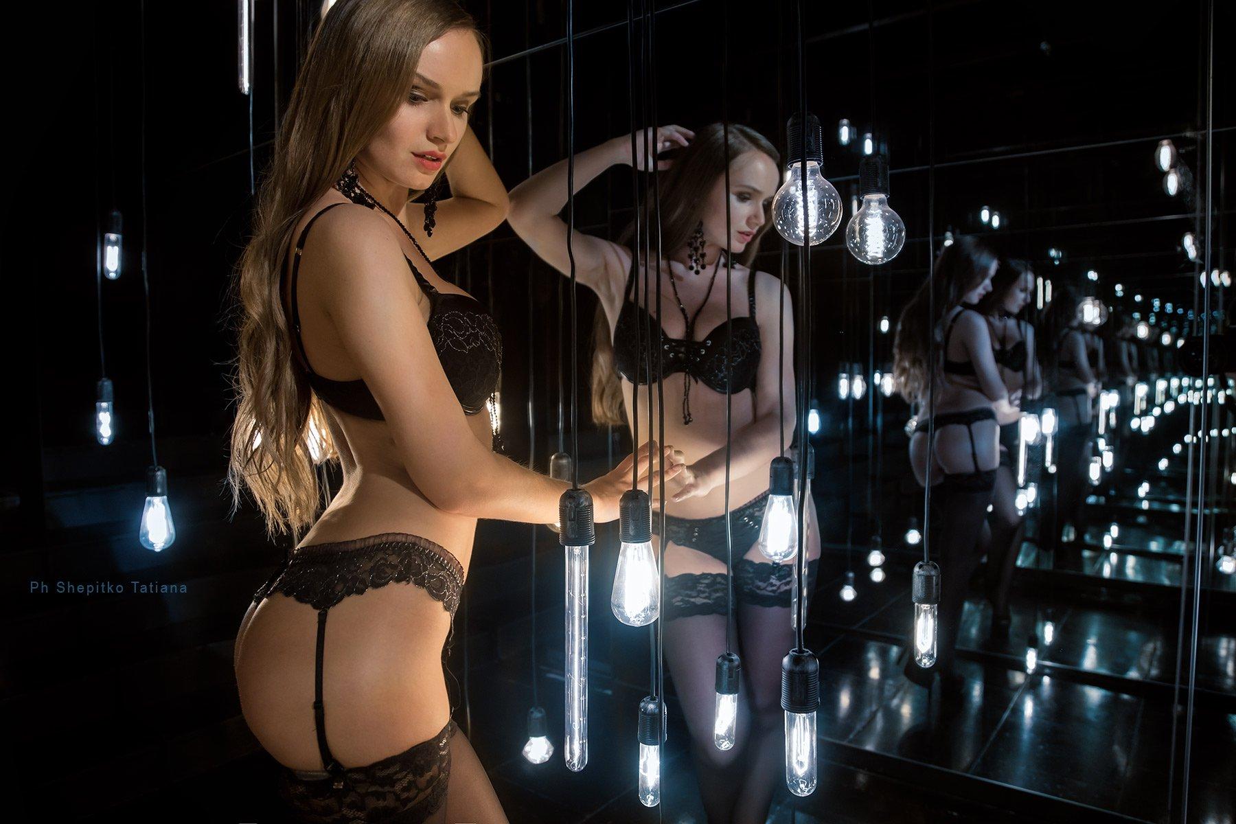шепитько shepitko девушка girl будуар красота lingerie нижнее белье свет огни лампочка зеркало, Шепитько Татьяна