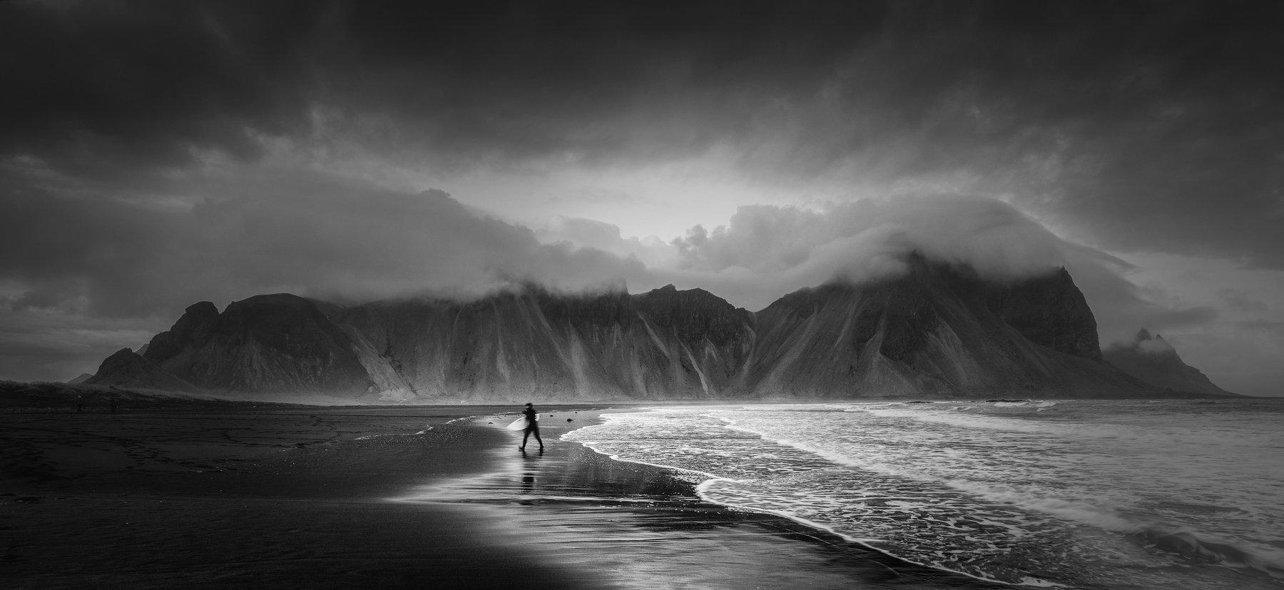ice, landscape, nature, beach, nature, ocean, black&white, iceland, Genadi Dochev