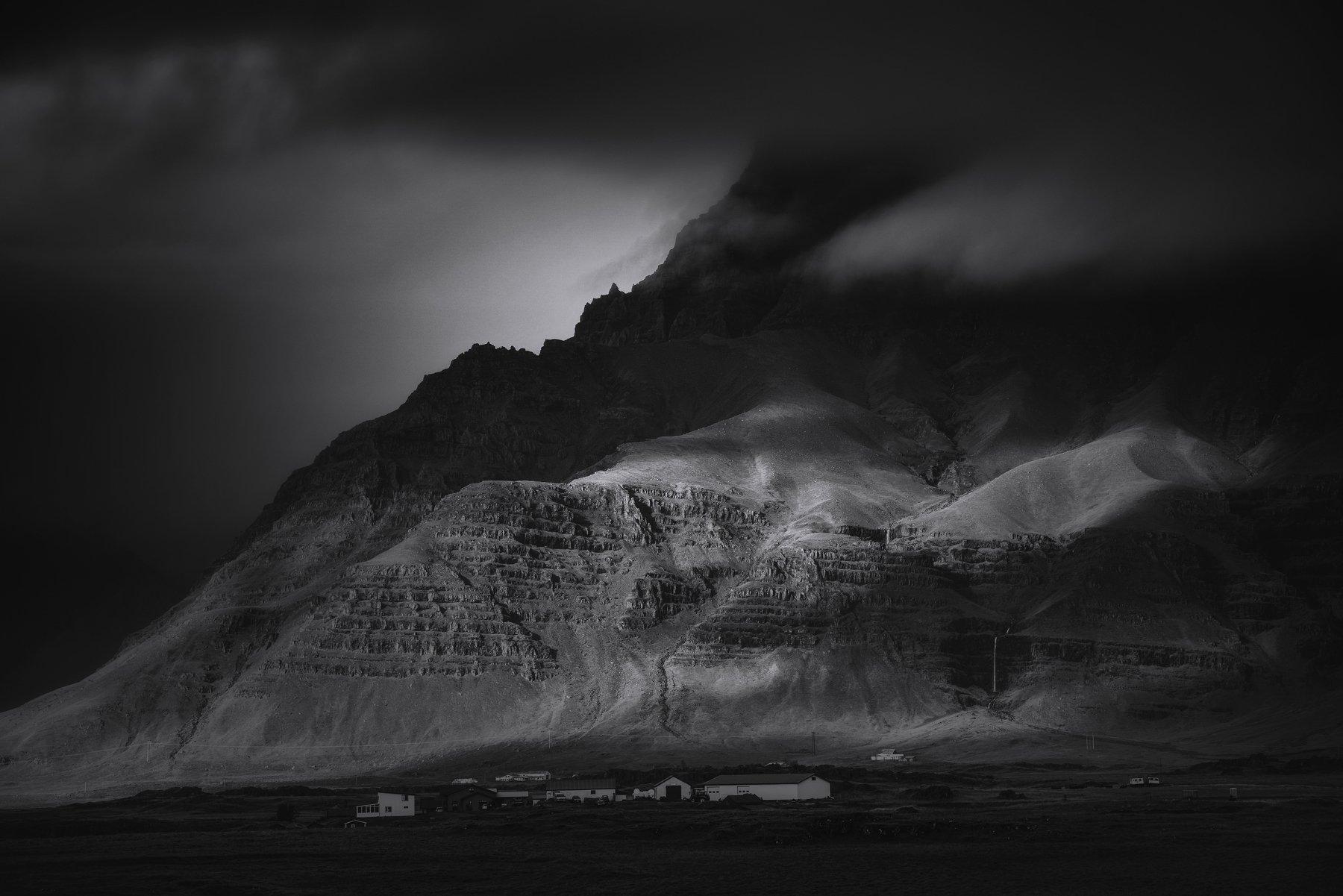 iceland, landscape, black&white, travel, farm, contrast, nature, clouds, storm, пейзаж, Genadi Dochev