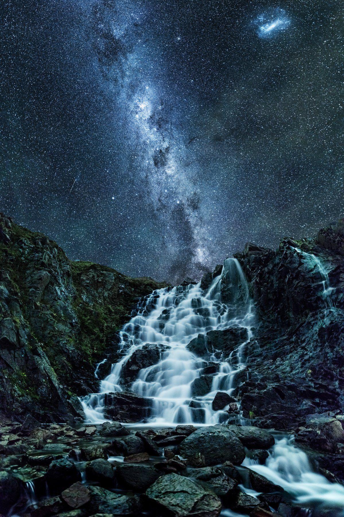 звезды, водопад, терибирка, мурманская область, россия, Алексей Сулоев