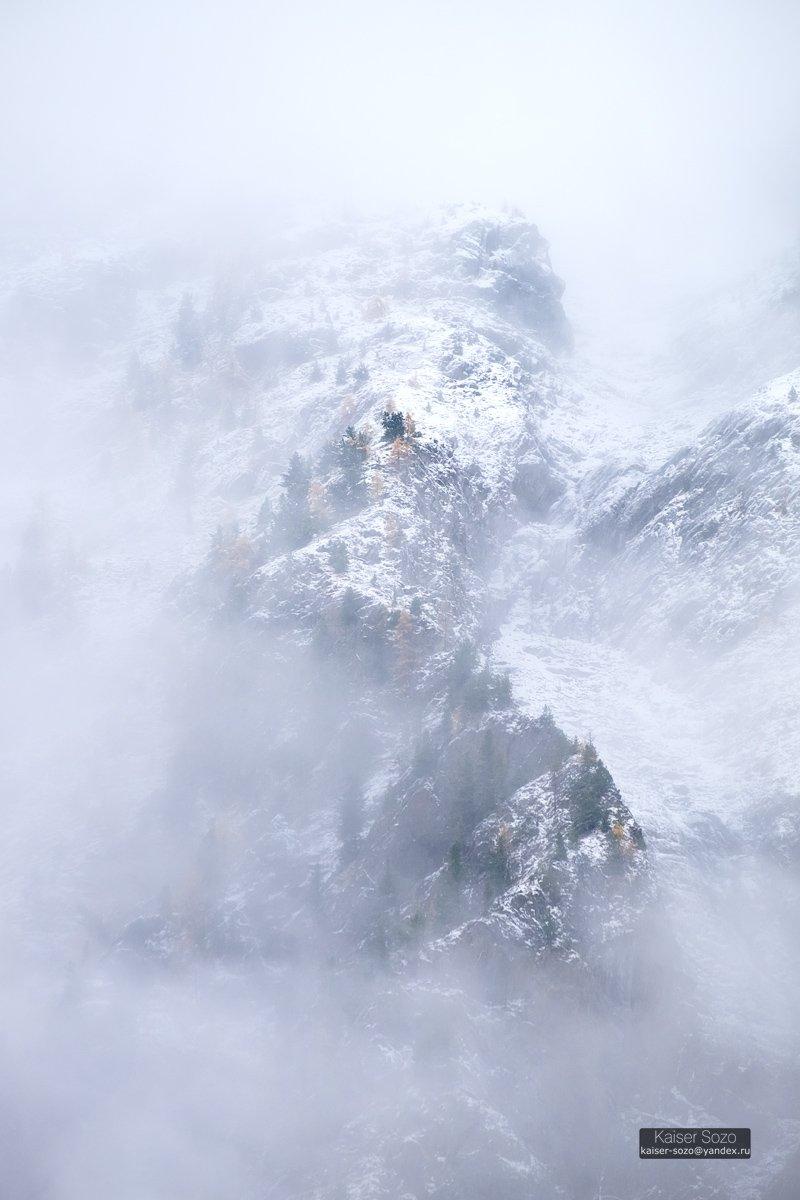 алтай, шавла, шавлинские озера, склоны, горы, туман, снег, Kaiser Sozo