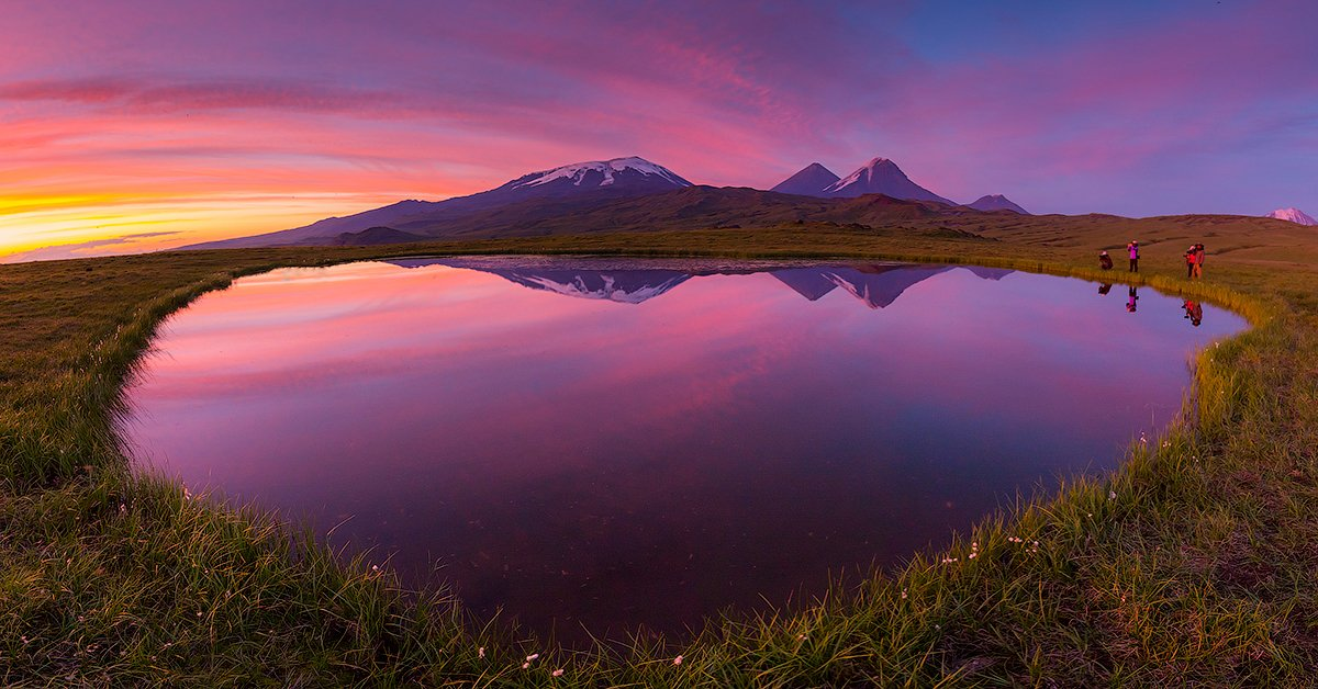Камчатка, лето, природа, путешествие, вулкан, озеро, пейзаж, закат, Денис Будьков