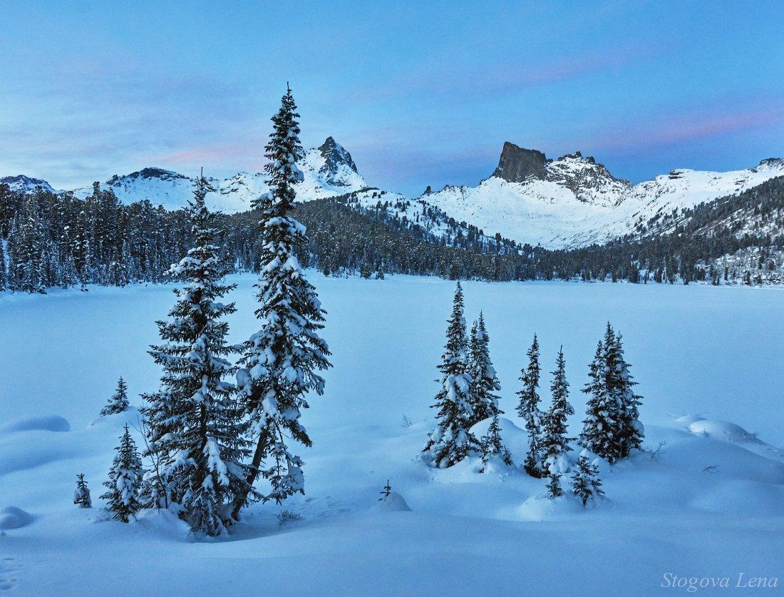 ергаки, озеро светлое, зима, закат, Лена Стогова