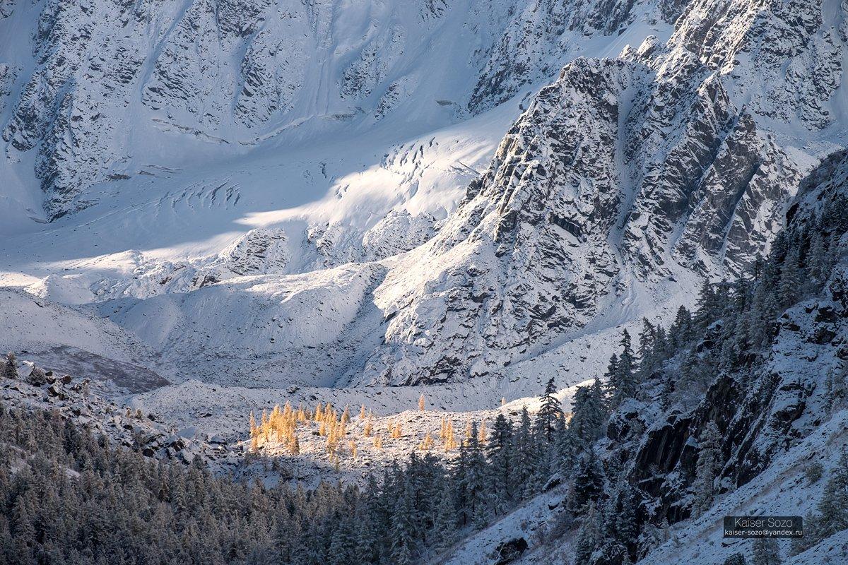 россия, алтай, горный алтай, шавла, шавлинские озера, ледник зелинского, золотая осень, лиственницы, ледник, снег, kaiser sozo, Kaiser Sozo