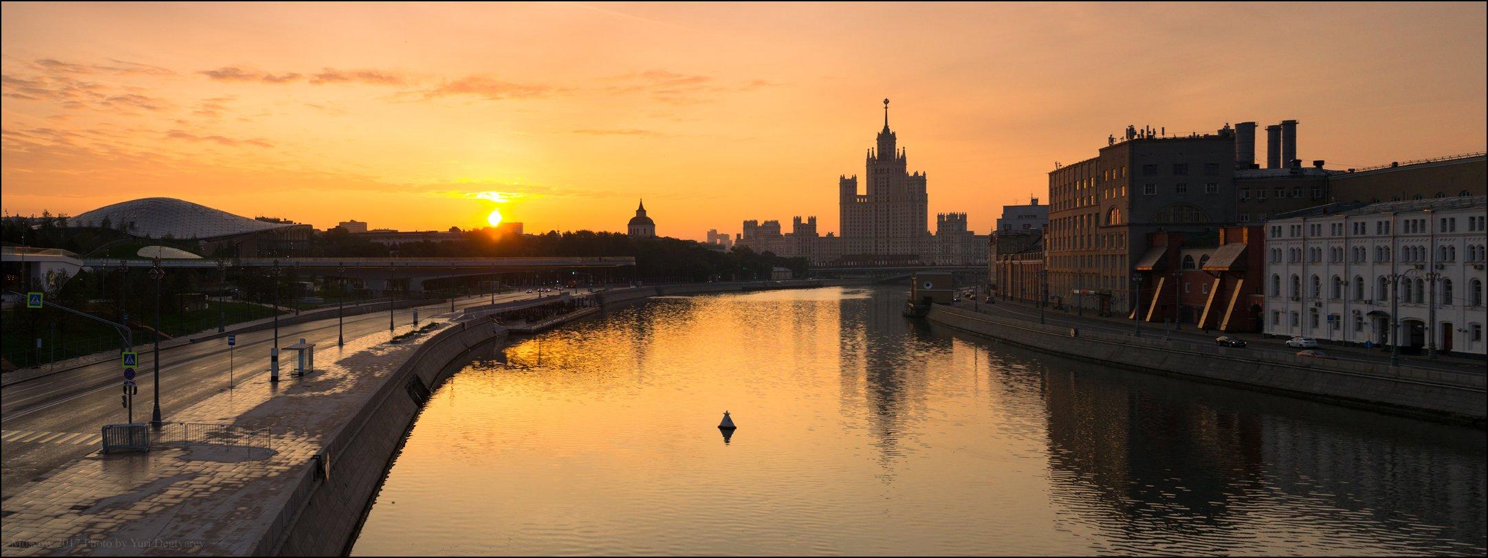 город, столица, Москва, Россия, рассвет, высотка, река, солнце, Юрий Дегтярёв