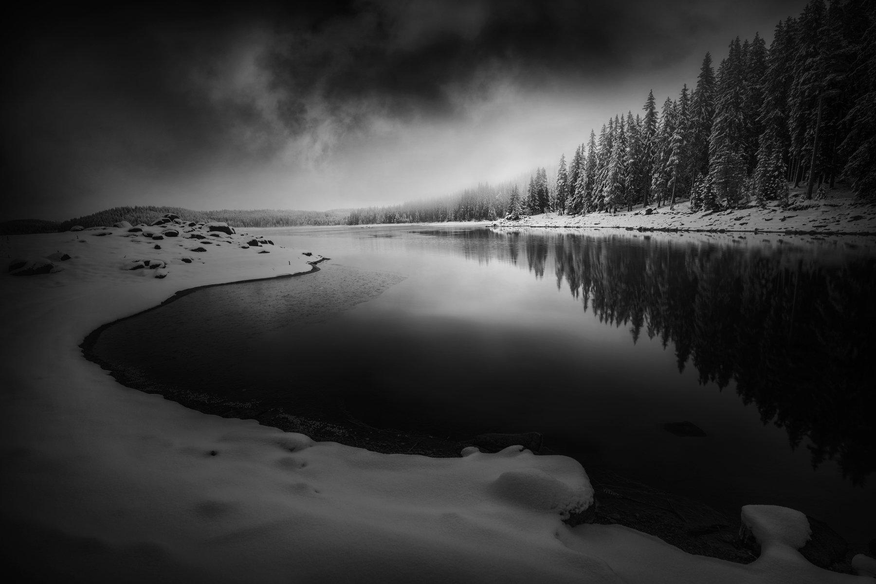 landscape, nature, sunrise, black&white, Genadi Dochev