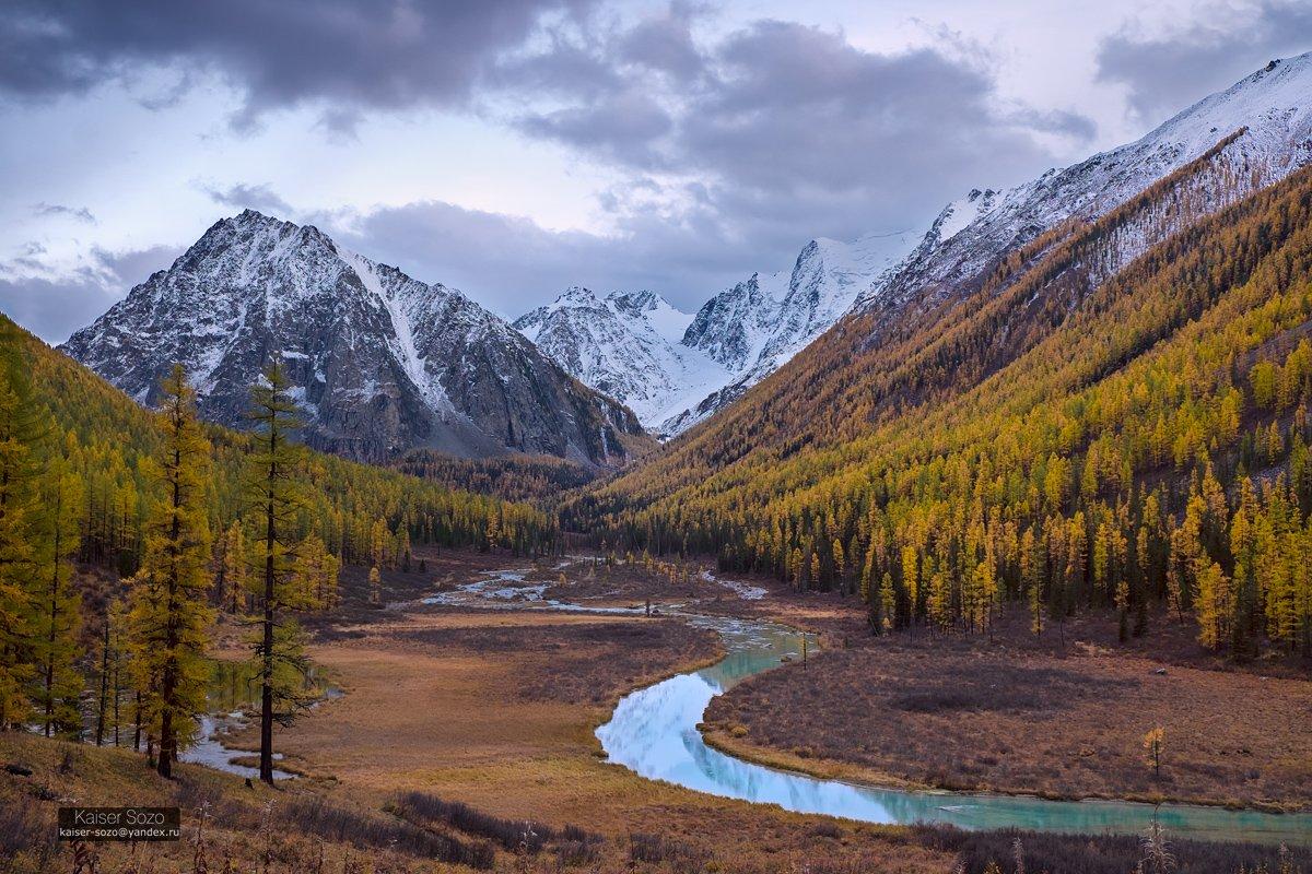 россия, горный атай, алтай, шавла, шавлинские озера, золотая осень, горы, лиственницы, горы, отражение, река, бирюзовый, Kaiser Sozo