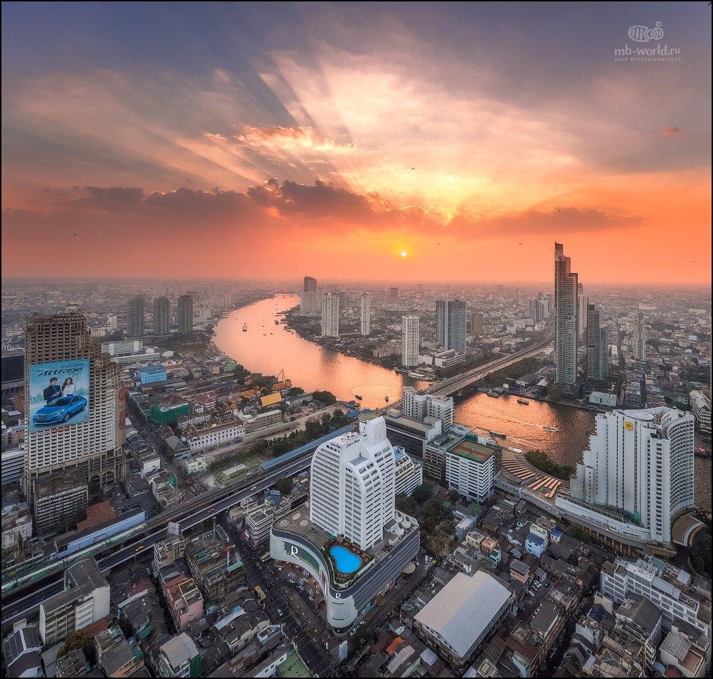 таиланд, бангкок, закат, город,, Михаил Воробьев