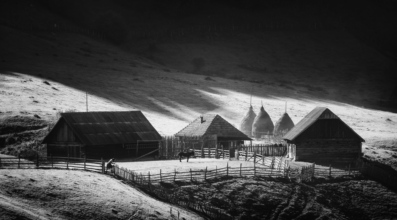 landscape, mountain, light, nature, пейзаж, природа, горы, rural, idyll, village,home, sunrise, black&white, Genadi Dochev