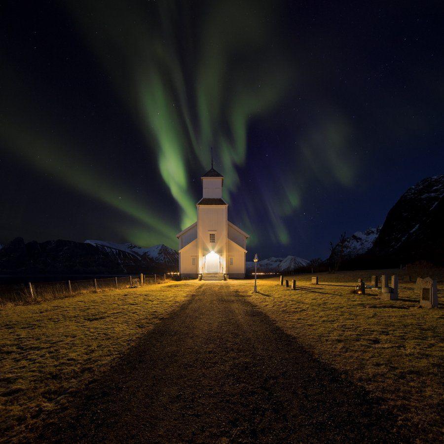 aurora, norway,borealis,church, Jakub Müller