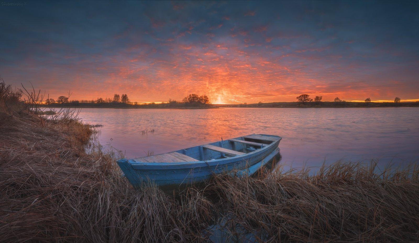 лодка, закат, осень, река, тырница, Михаил Дубровинский