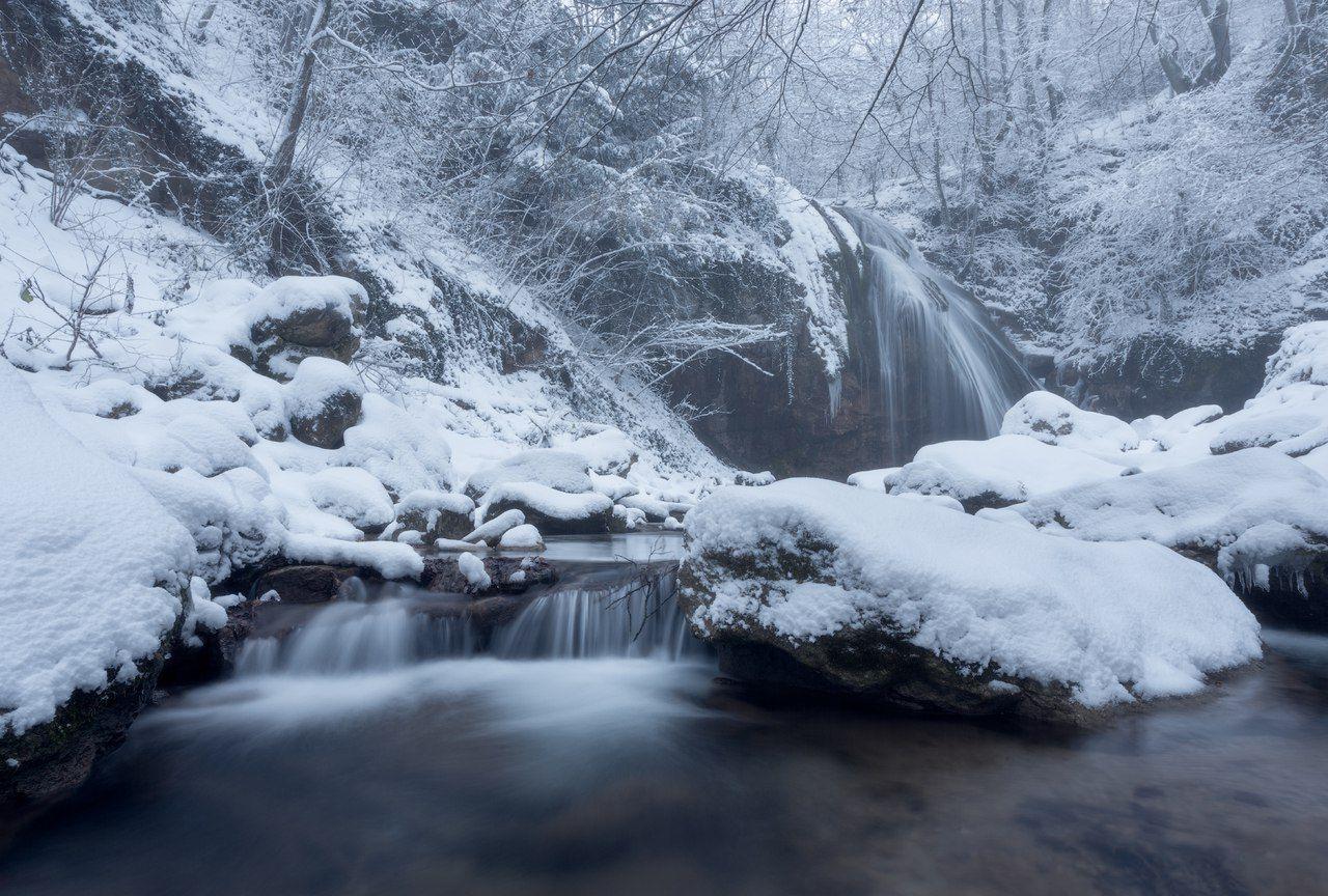 крым, водопад, джур-джур, природа, пейзаж, зима, снег, струи, долина привидений, демерджи, россия, путешествия, туризм, отдых, февраль, февраль в крыму, зима в крыму, Лузанов Вячеслав