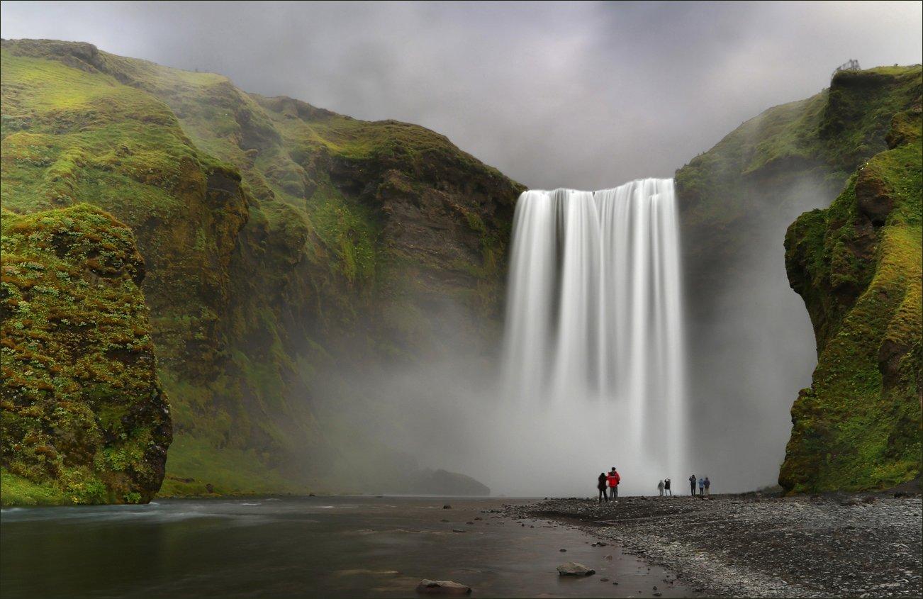 skogafoss, скогафосс, исландия, iceland, водопад, waterfall, длинная выдержка, long exposure, вода, water, Вера
