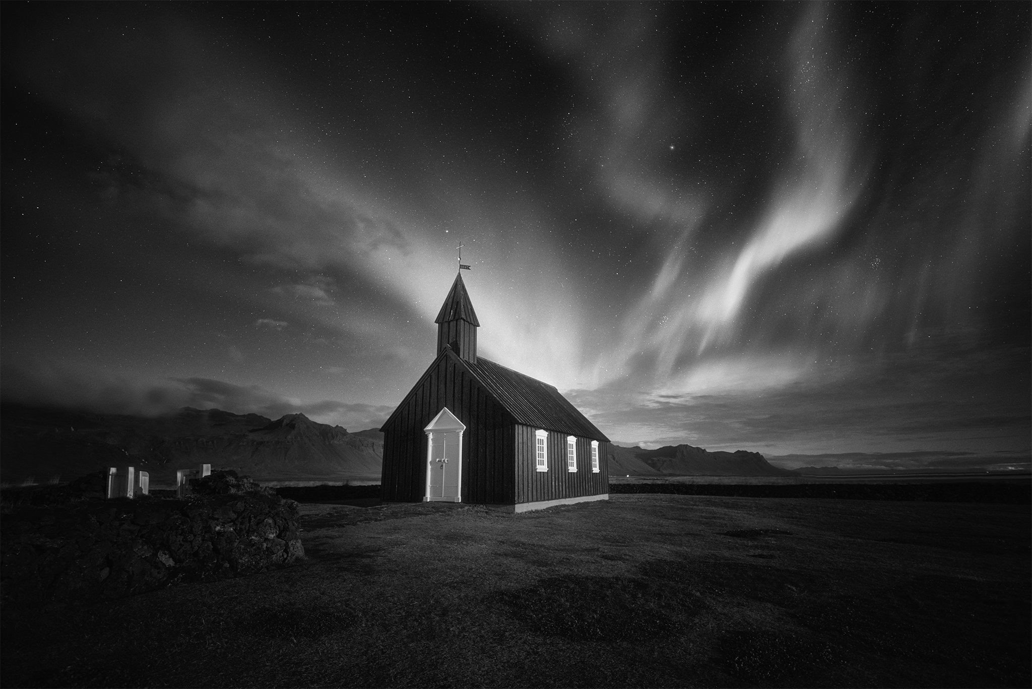 iceland, landscape, black&white, travel, farm, contrast, nature, clouds, storm, пейзаж, church, Genadi Dochev