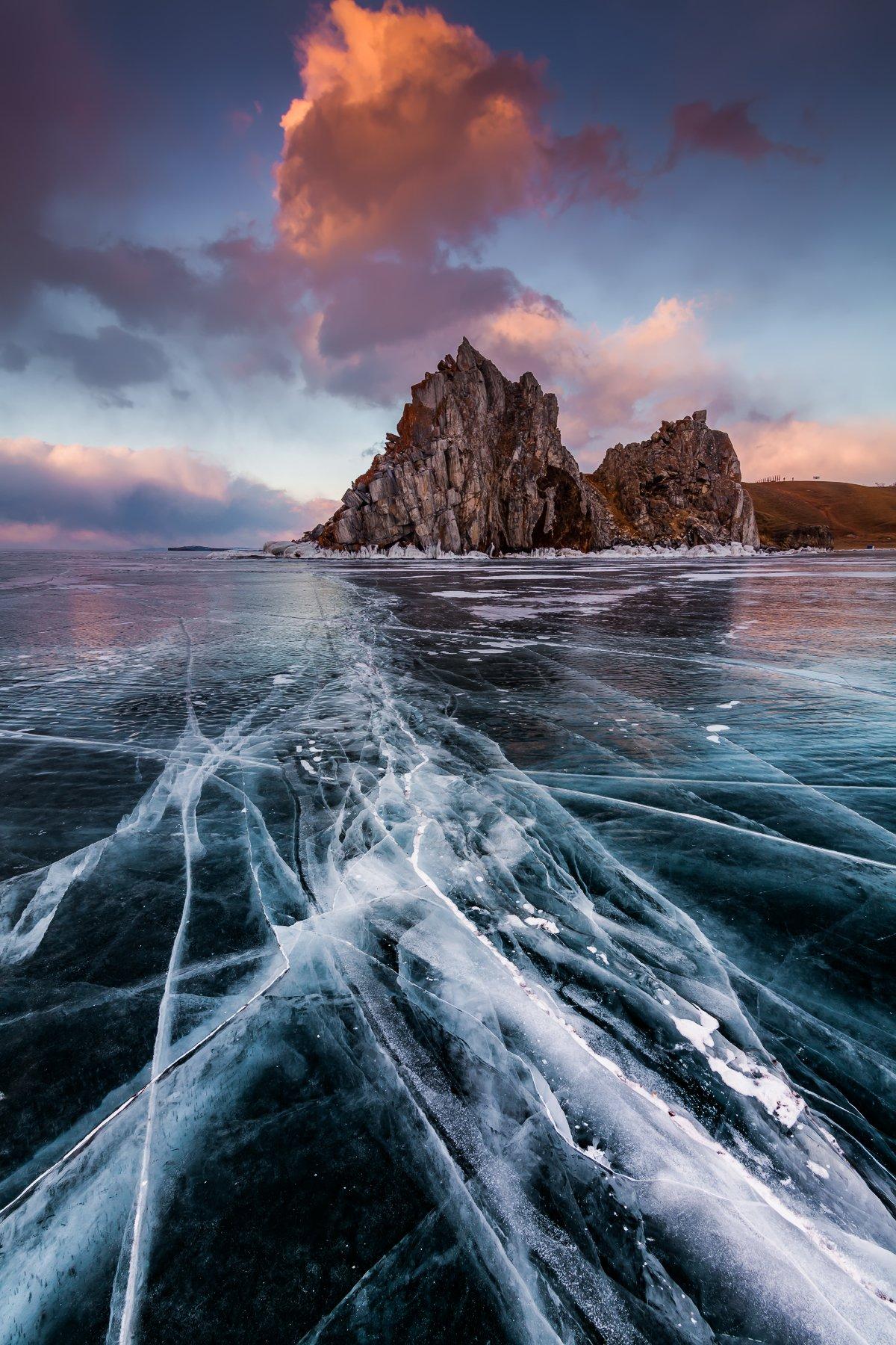 байкал,озеро,зима, лед, закат, Антон Петрусь