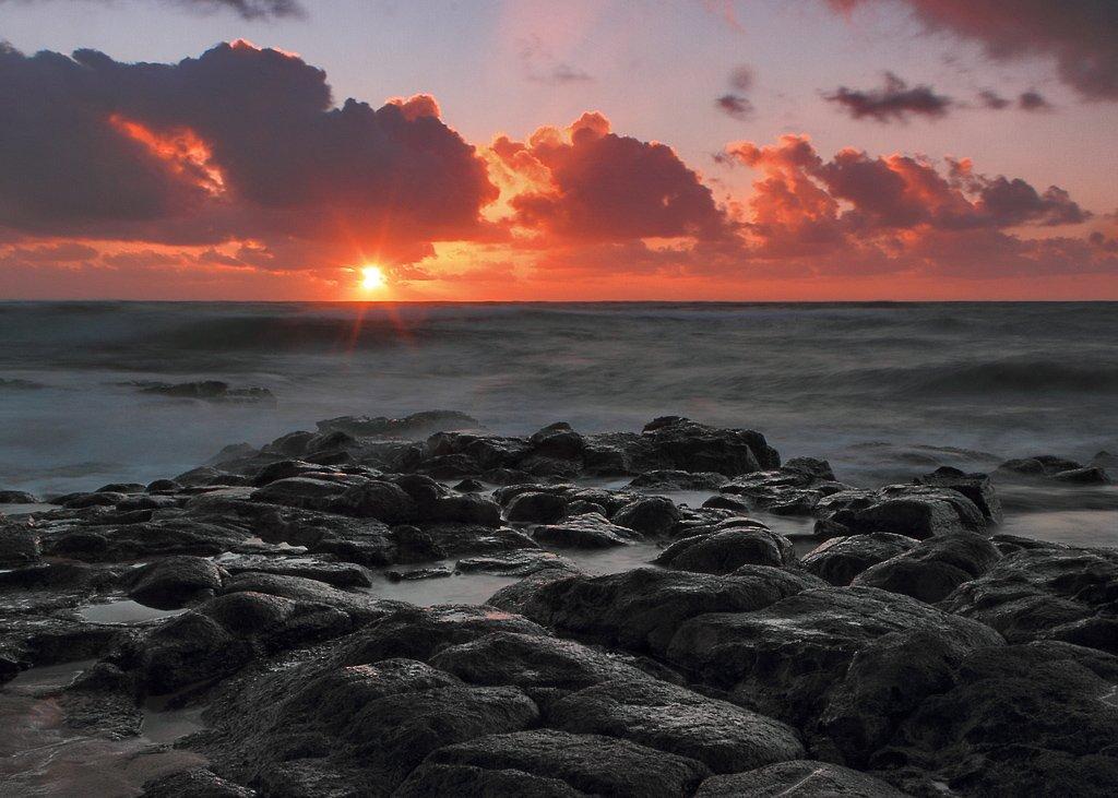 kapaa, kauai, восход, море, камни, Андрей Станко