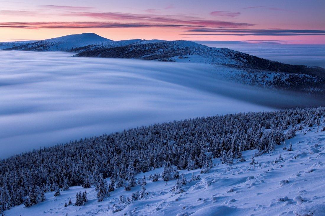 mountains, czech republic, krkonoše, giant mountains, longexposure, clouds, frozen, Jakub Müller