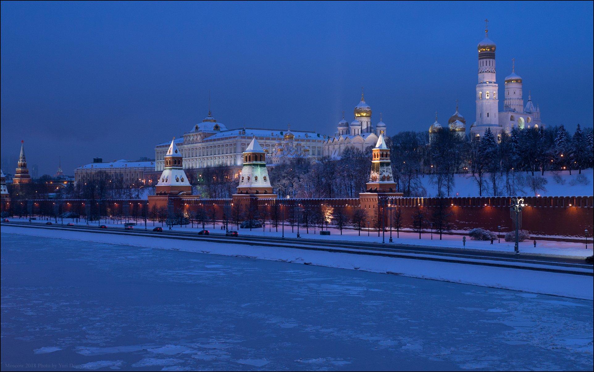 Москва, город, Кремль, зима, утро, река, снег, колокольня, Юрий Дегтярёв