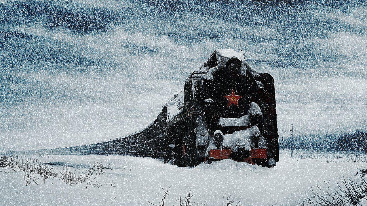 зима, паровоз, остановка, сугроб, Boji