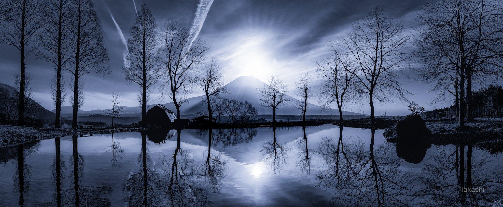 Fuji,Japan,mountain,trees,lake,water,reflection,sun,sunrise,amazing,fantastic,, Takashi