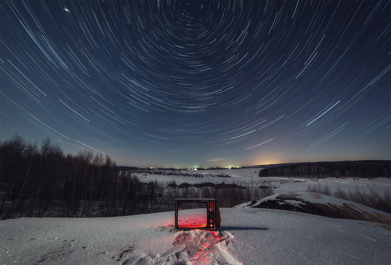 ночь, звезды, пейзаж, зима, снег, Артемий Тузов