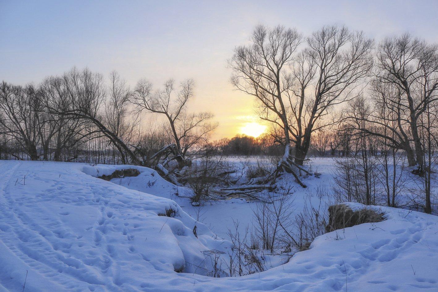 зима,пейзаж.закат,, Zadorina Svetlana