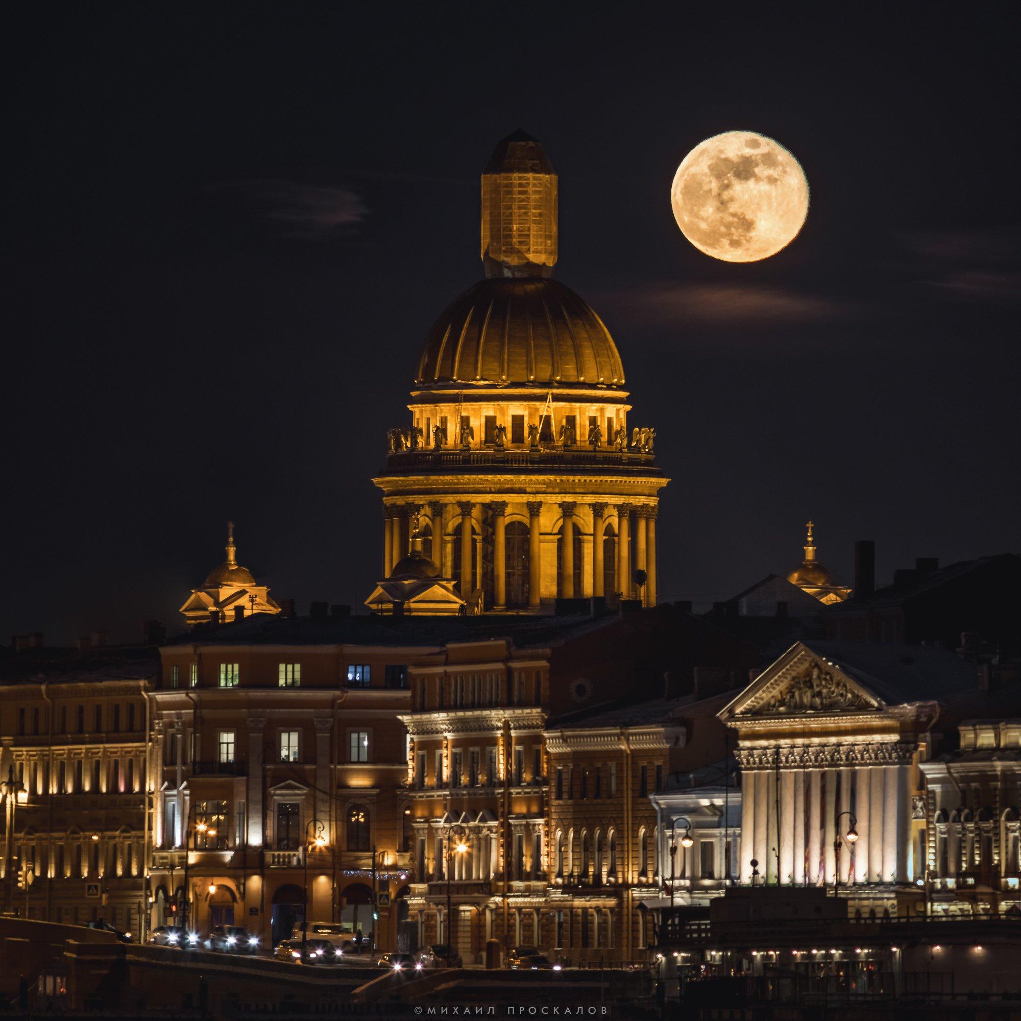 Питер, луна, город, пейзаж, Михаил