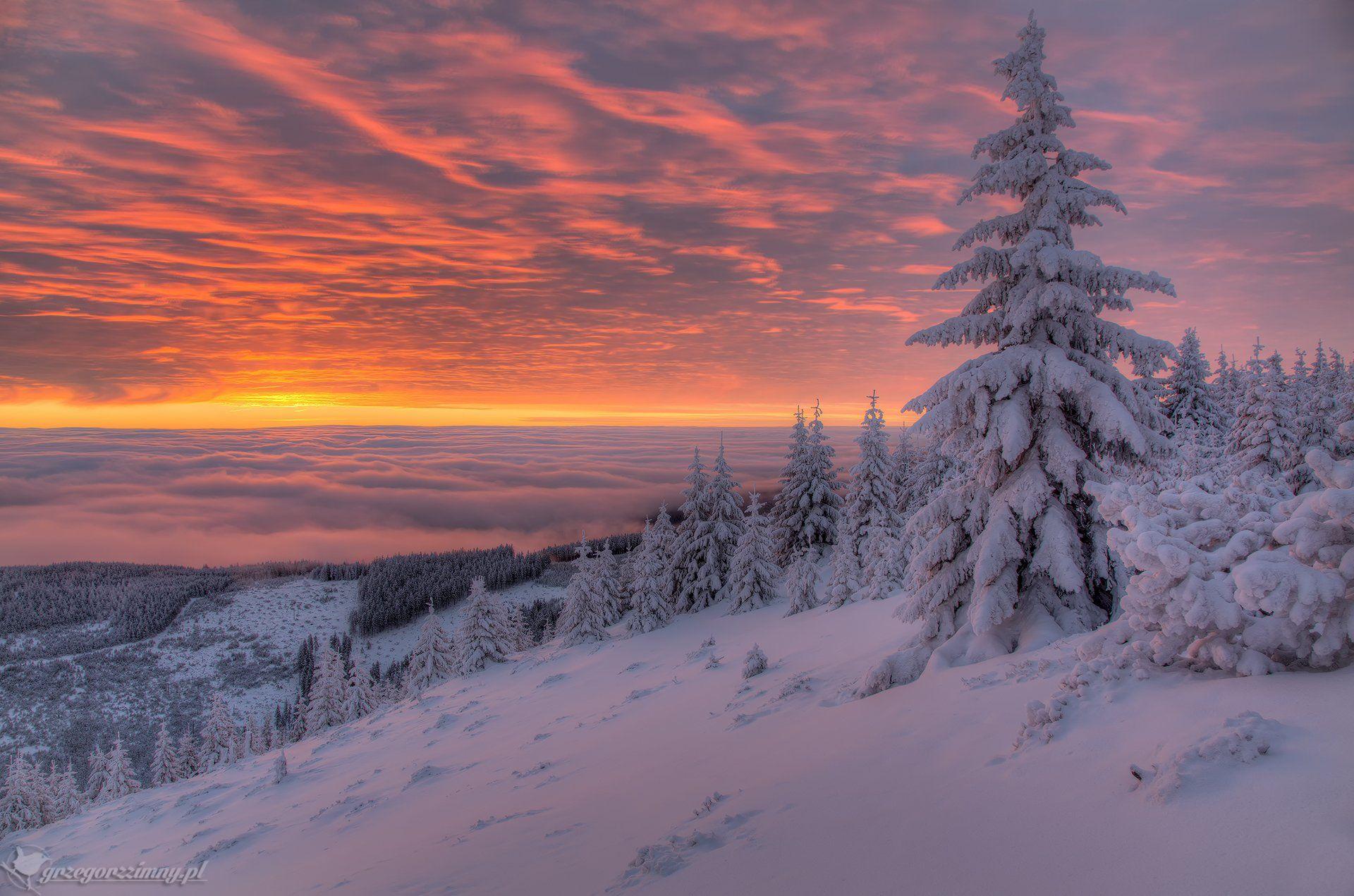 giant, mountains, sunrise, clouds, Grzegorz Zimny