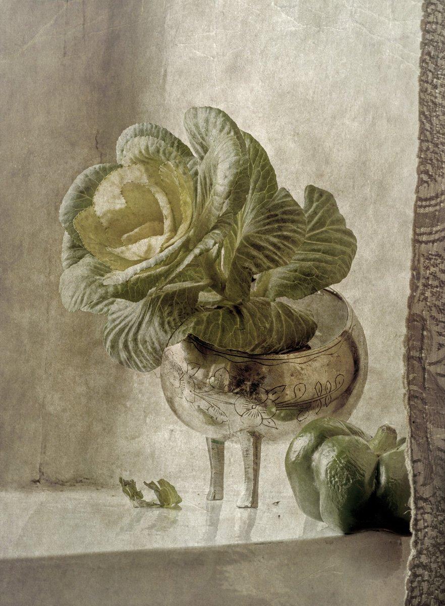 капуста, ваза, перец, подоконник, штора, листья, зелень, Игорь Токарев