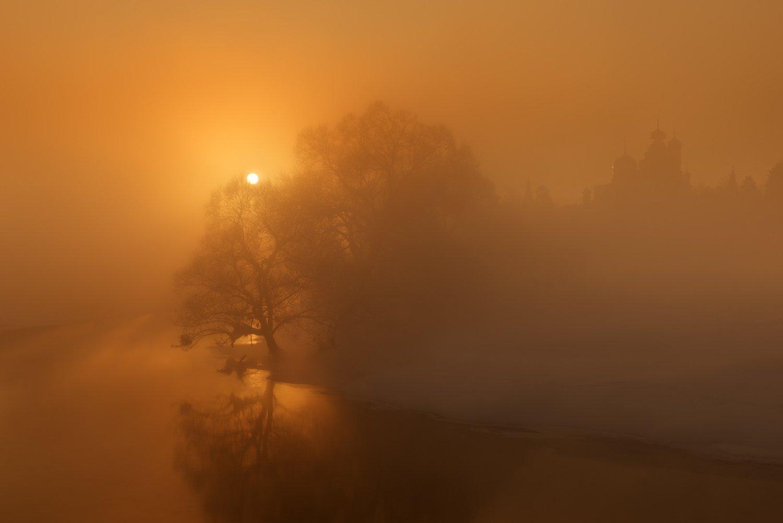 солнце, рассвет, река, мороз, зима, сне, дерево, свет, Евгений Цап