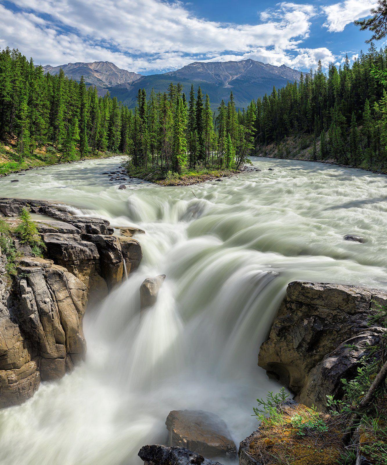 Canadian Rockies, Jasper, National, Park, Rocky Mountains, Alberta, Canada, Sunwapta, falls, Banff,  island, forest, mountain, Waterfall, Athabaska, river, , Dmitry Vinogradov