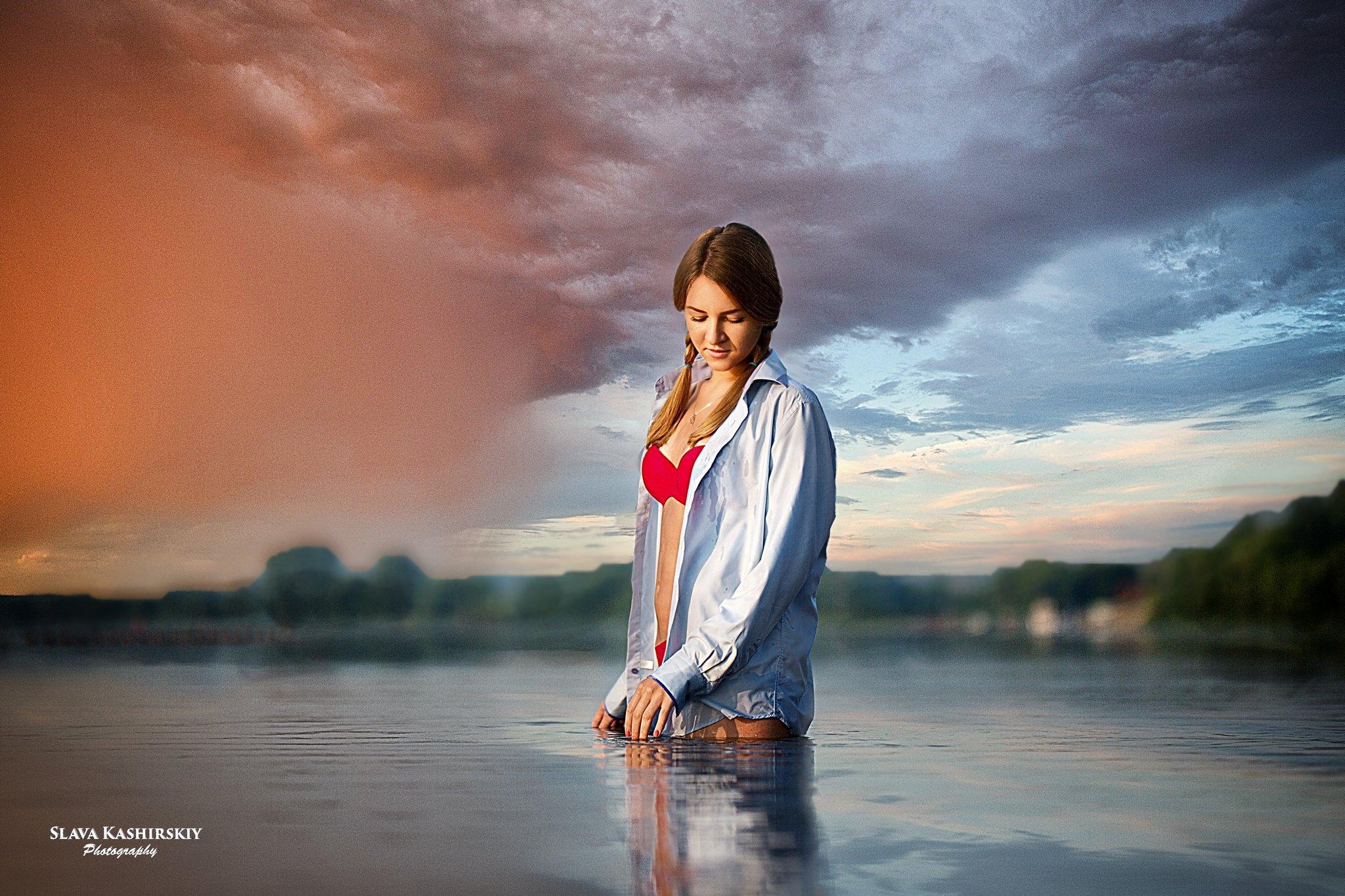 девушка, рассвет, река, солнце, Слава Каширский