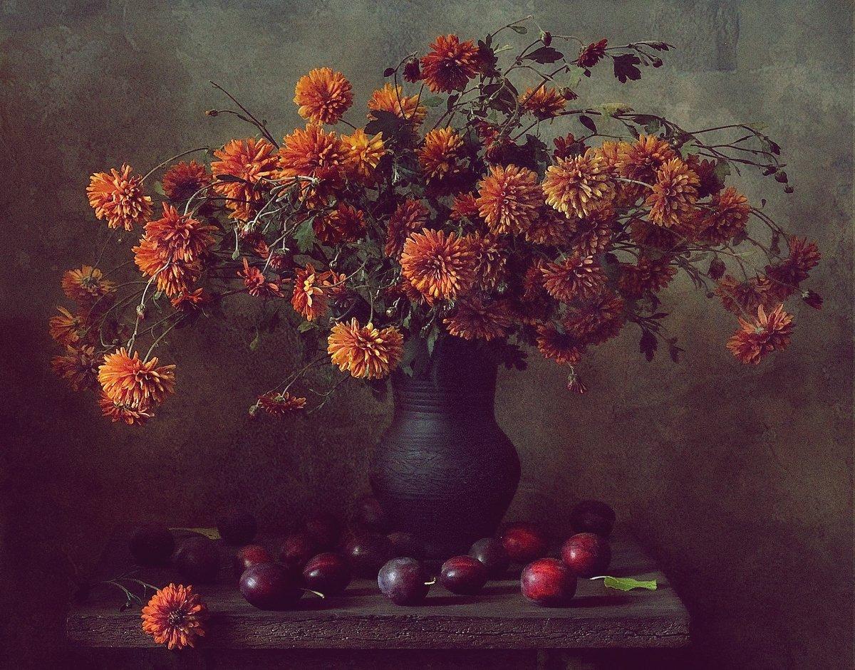 натюрморт,цветы,хризантемы,сливы, Наталия